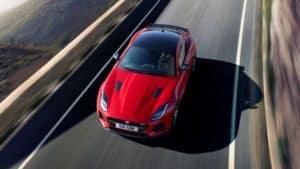 2019 Jaguar F-TYPE SVR in Caldera Red Driving Top View