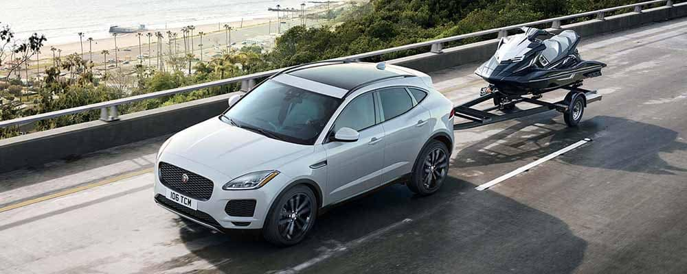 2018 Jaguar E-PACE Towing a Waverunner Trailer