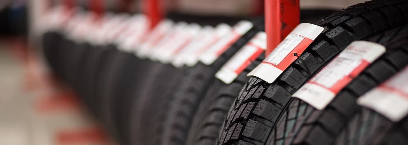 Car tires on showcase