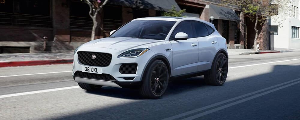 2020 E-PACE white driving on street