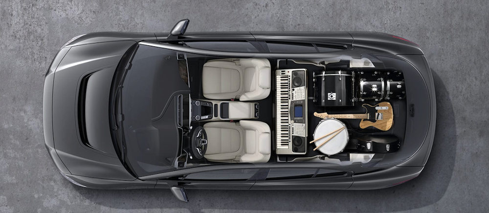 jaguar i pace aerial view with cargo dimensions highlighted