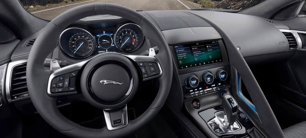 2020 Jaguar F-TYPE interior dashboard and driver seat