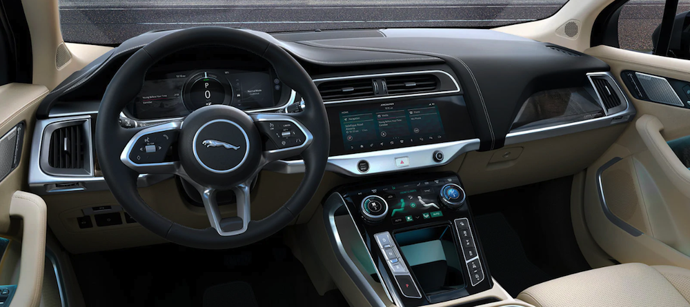 2020 Jaguar I-PACE interior dashboard and steering wheel
