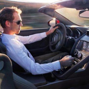 Man driving a 2017 Jaguar F-TYPE