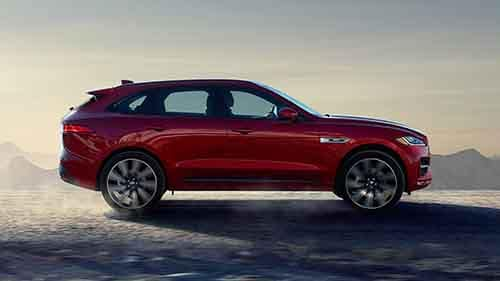 2018 Jaguar F-PACE Side view red
