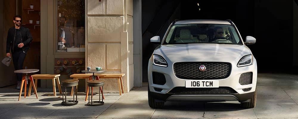 2018 Jaguar E-PACE pulling out of parking garage