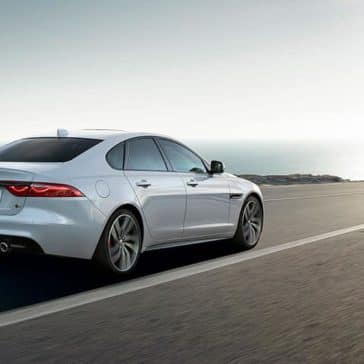 2019 Jaguar XF rear view on a highway drive