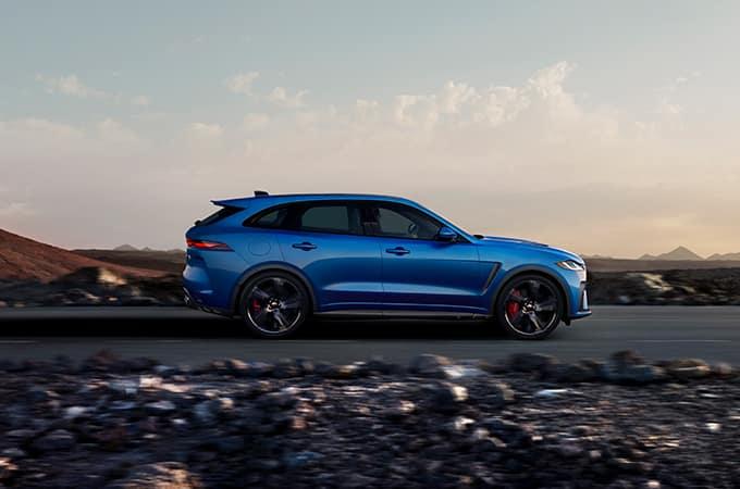 Blue Jaguar F-PACE SVR on road