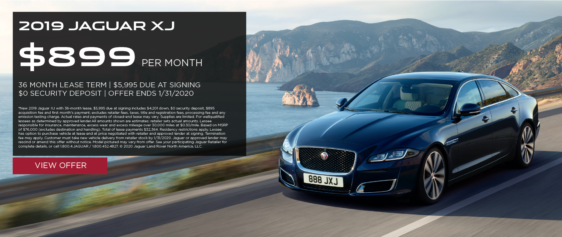 2019 Jaguar XJ | $899/month | 36-month lease | 10,000 miles/year | $5,995 due at signing | $0 security deposit | expires 1/31/2020