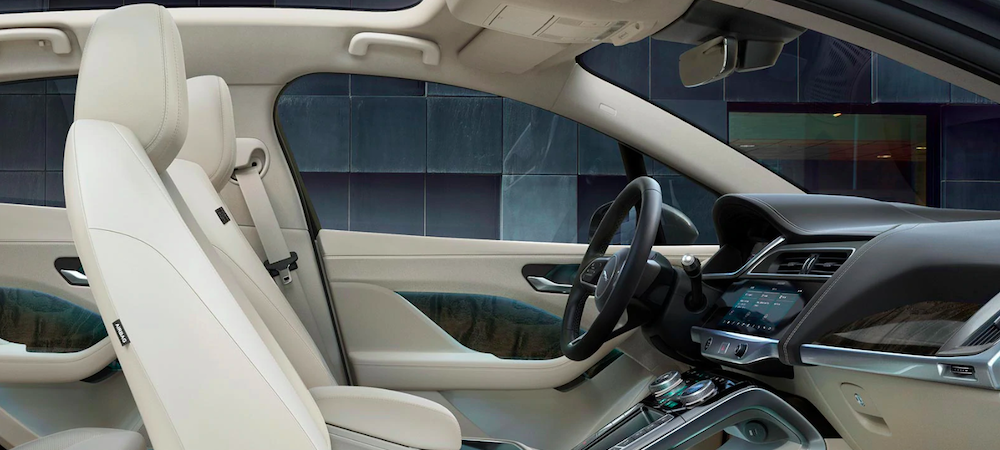 2020 jaguar i-pace white interior side view of front seats