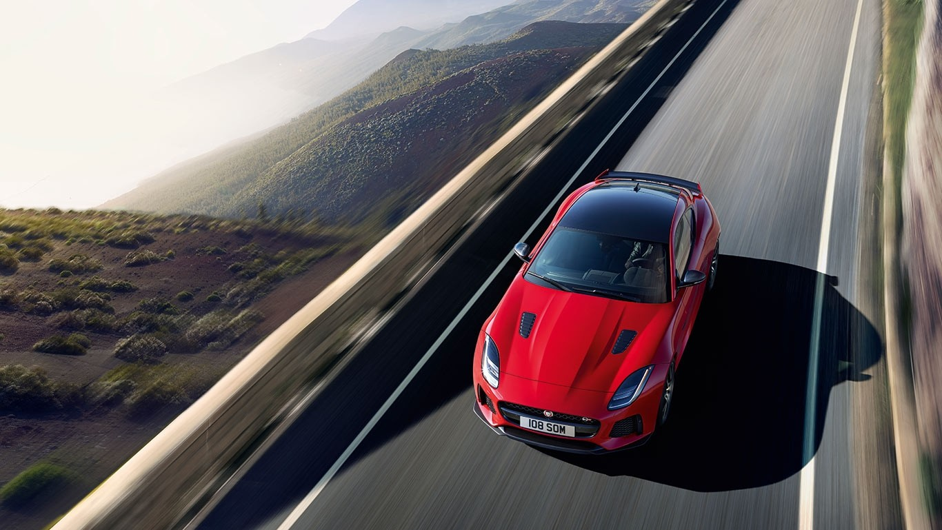 2018 Jaguar F-TYPE driving top view