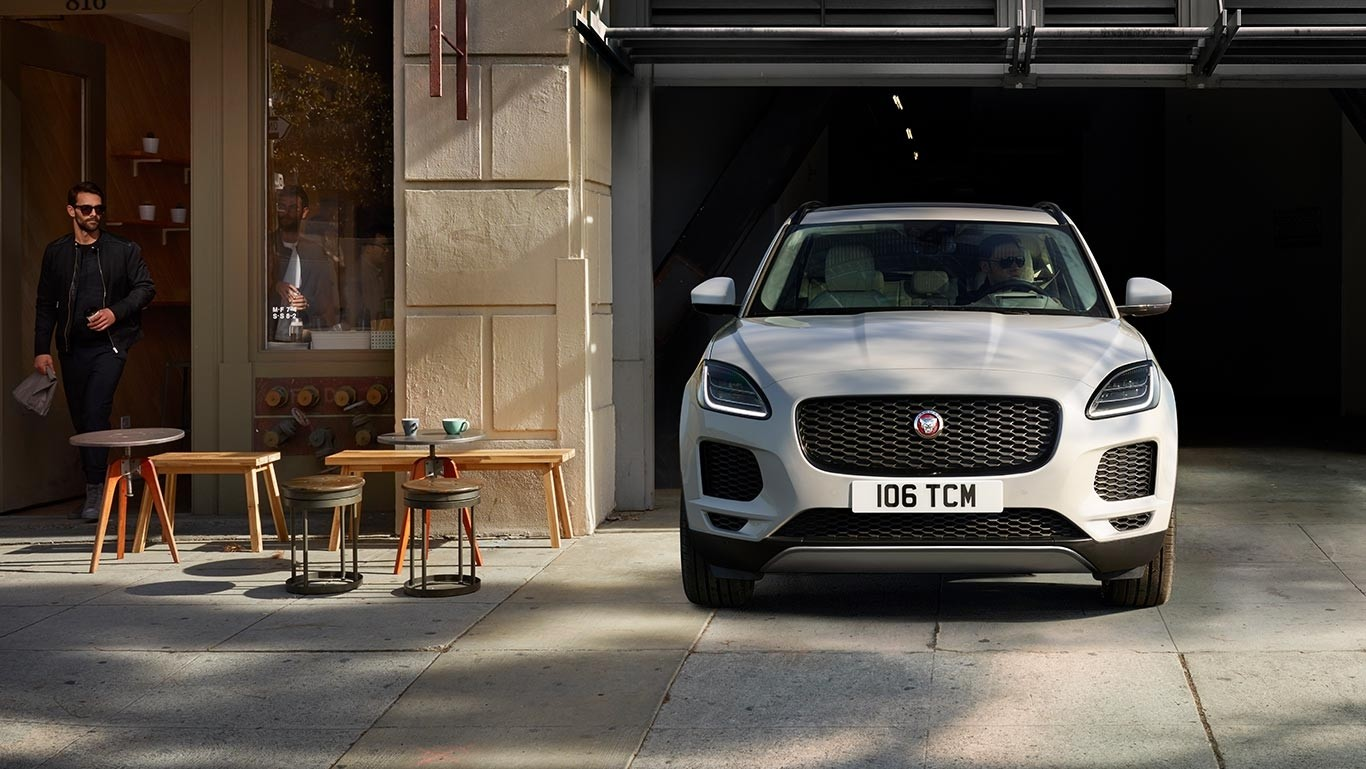 2018 Jaguar E-PACE pulling out of parking garage