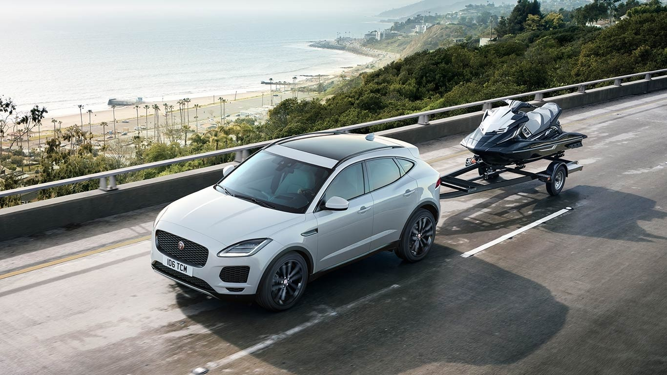 2018 Jaguar E-PACE towing waverunner