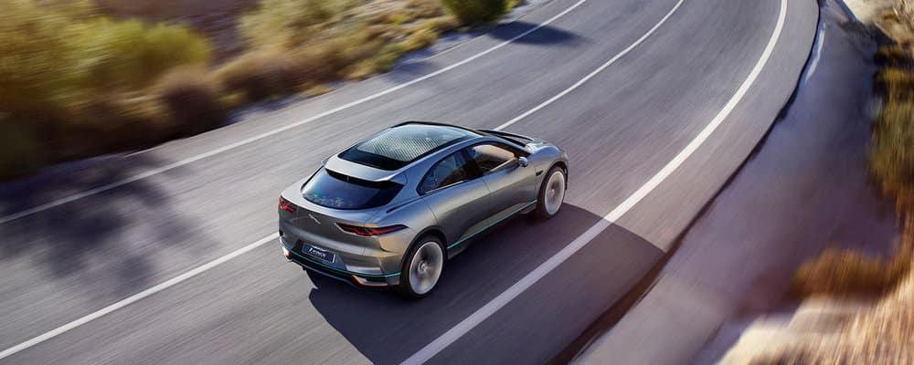 Silver Jaguar Driving