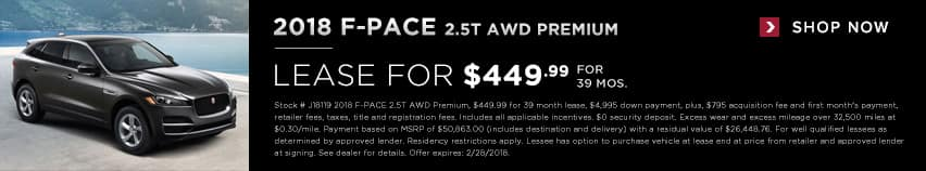 2018 F-Pace 2.5T Lease for $449.99 for 39 months