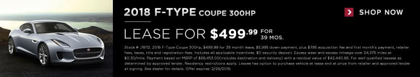 2018 F-Type Coupe leae for $499.99 for 39 months