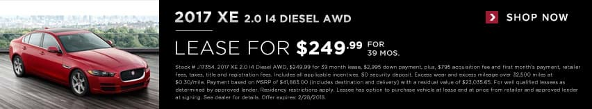2017 XE 2.0 lease for $249.99 for 39 months