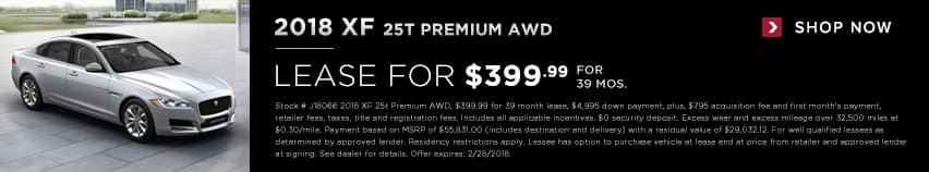 2018 XF 2.5T Lease for $399.99 for 39 months