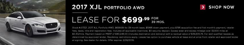 2018 XJL Portfolio Lease for $699.99 for 39 months
