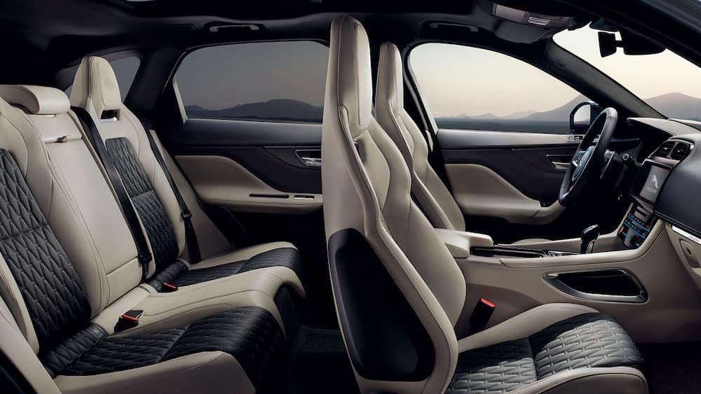 2019 Jaguar F-PACE SVR interior with leather seats