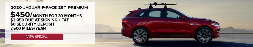 2020 JAGUAR F-PACE 25T PREMIUM. $450 PER MONTH FOR 39 MONTHS. $3,950 DUE AT SIGNING PLUS TAXES AND TITLE. $0 SECURITY DEPOSIT. 7,500 MILES PER YEAR. VIEW SPECIAL. RED JAGUAR F-PACE DRIVING DOWN ROAD IN DESERT.