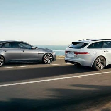 2020 Jaguar XF Pair Near the Ocean