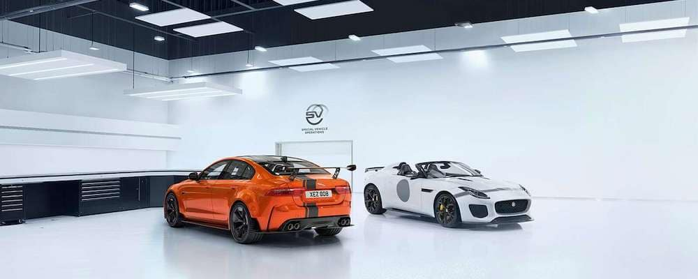 Jaguar XE SV Project 8 with Jaguar F-TYPE in SVO room