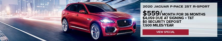 2020 JAGUAR F-PACE 25T R-SPORT. $459 PER MONTH FOR 36 MONTHS. $4,059 DUE AT SIGNING PLUS TAXES AND TITLE. $0 SECURITY DEPOSIT. 7,500 MILES PER YEAR. VIEW SPECIAL. RED JAGUAR F-PACE DRIVING DOWN ROAD IN CITY.