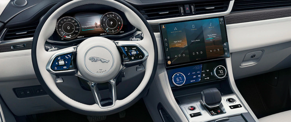 2021 Jaguar F-PACE steering wheel and touchscreen