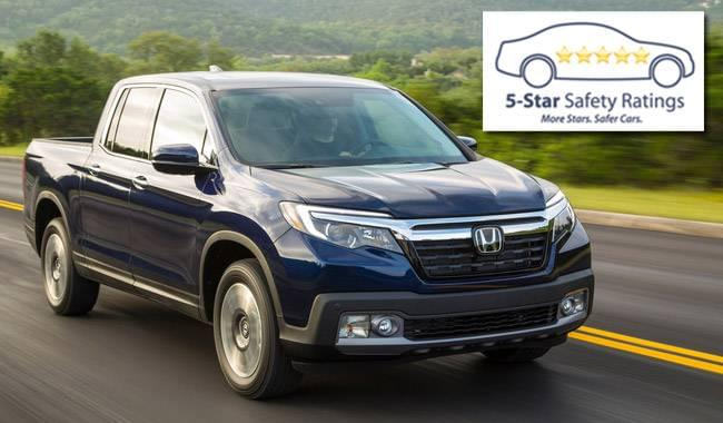 2017 Honda Ridgeline Earns Top Safety Rating from NHTSA