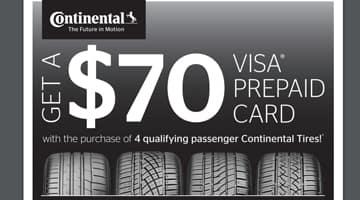 Continental Tire $70 Rebate at Keenan Honda