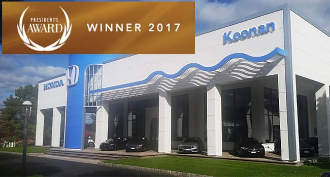Keenan Honda Earns Coveted President's Award from Honda