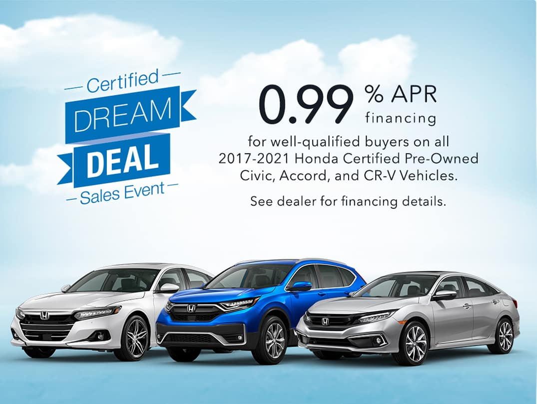 0.99% APR Financing on select Certified Pre-Owned Honda Vehicles through 11/1/2021