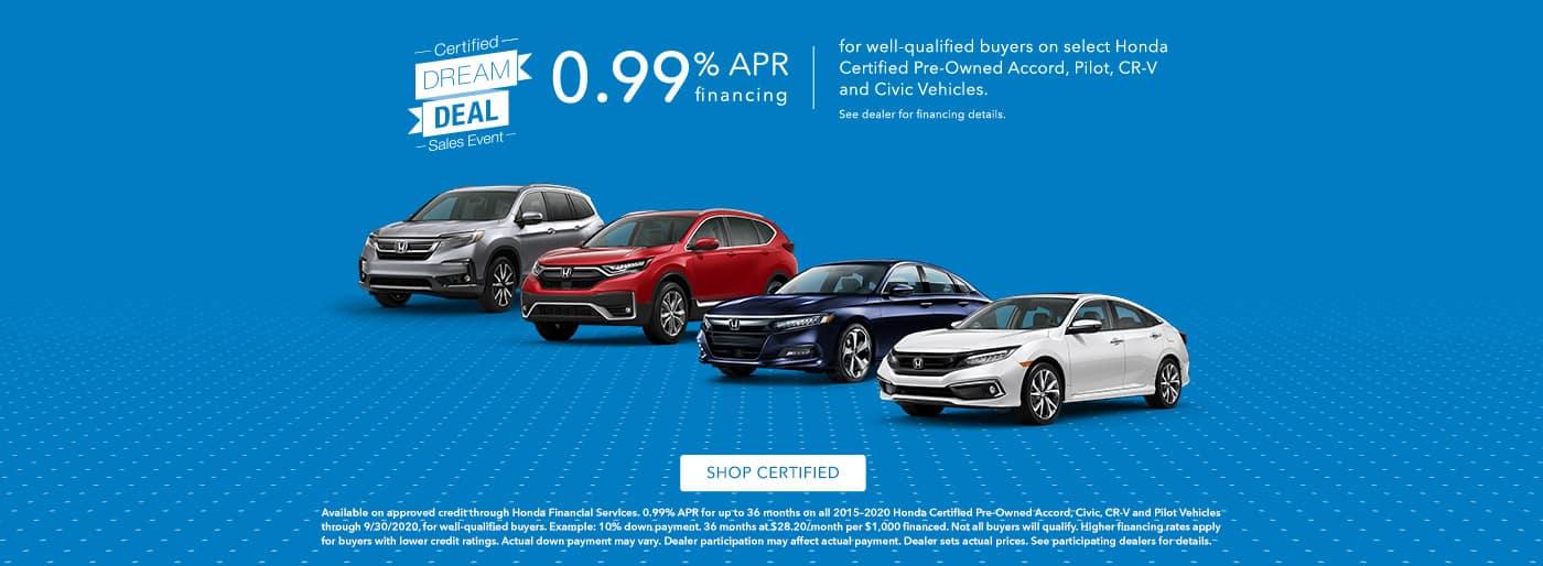 0.99% APR Financing on Select Certified Pre-Owned Honda Models