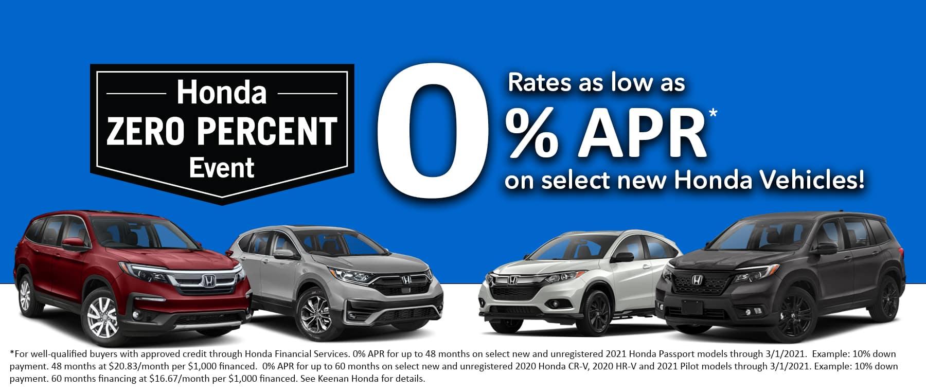 Honda 0% Sales Event at Keenan Honda