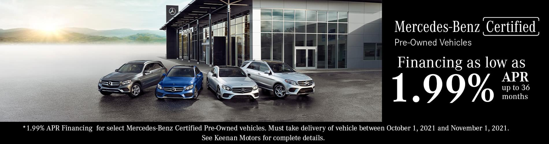 Mercedes-Benz Certified Pre-Owned Financing as low as 1.99% APR for 36 months at Keenan Motors