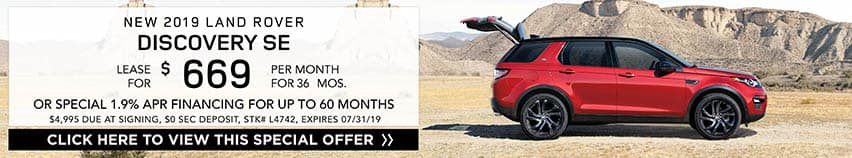 Lease a new 2019 LAND ROVER DISCOVERY SE for $669 a month for 36 months. Or get special 1.9% APR financing for up to 60 months