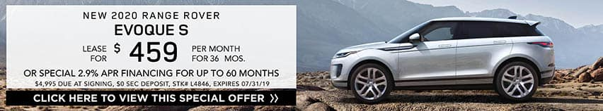 Lease a new 2020 RANGE ROVER EVOQUE S for $459 a month for 36 months. Or get special 2.9% APR financing for up to 60 months