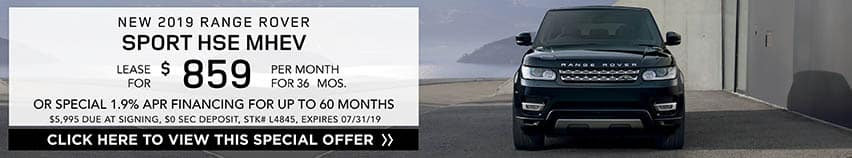 Lease a new 2019 RANGE ROVER SPORT HSE MHEV for $859 a month for 36 months. Or get special 1.9% APR financing for up to 60 months