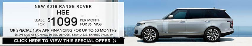 Lease a new 2019 RANGE ROVER  HSE for $1,099 a month for 36 months. Or get special 1.9% APR financing for up to 60 months