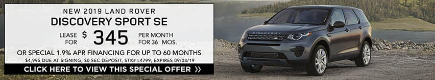 Lease a new 2019 LAND ROVER DISCOVERY SPORT SE for $345 a month for 36 months. Or get special 1.9% APR financing for up to 60 months