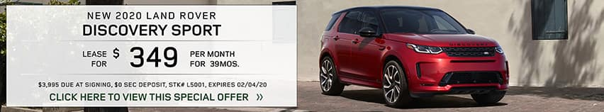 Lease a new 2020 LAND ROVER DISCOVERY SPORT for $349 a month for 39 months.