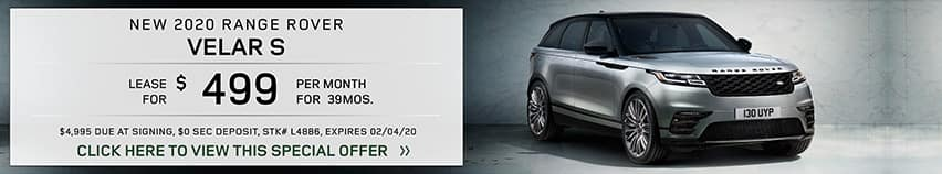 Lease a new 2020 RANGE ROVER VELAR S for $499 a month for 39 months.