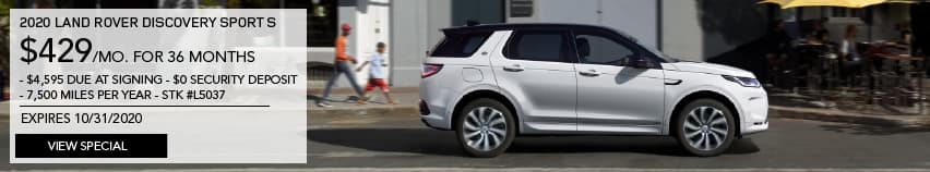 2020 LAND ROVER DISCOVERY SPORT S. $429 PER MONTH FOR 36 MONTHS. $4,595 DUE AT SIGNING. $0 SECURITY DEPOSIT. 7,500 MILES PER YEAR. STOCK L5037. EXPIRES 10.31.2020. VIEW SPECIAL. WHITE LAND ROVER DISCOVERY SPORT DRIVING THROUGH CITY.