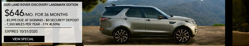 NEW 2020 LAND ROVER DISCOVERY LANDMARK EDITION. $646 PER MONTH FOR 36 MONTHS. $5,995 DUE AT SIGNING. $0 SECURITY DEPOSIT. 7,500 MILES PER YEAR. STOCK NUMBER L5096. EXPIRES OCTOBER 31 2020. VIEW SPECIAL. LIGHT BROWN LAND ROVER DISCOVERY PARKED IN FRONT OF HOME IN THE MOUNTAINS.