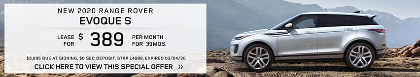 Lease a new 2020 RANGE ROVER EVOQUE S for $389 a month for 39 months.