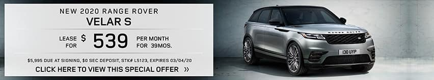 Lease a new 2020 RANGE ROVER VELAR S for $539 a month for 39 months.