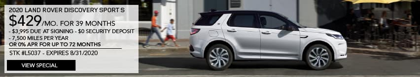 2020 LAND ROVER DISCOVERY SPORT S. $429 PER MONTH FOR 39 MONTHS. $3,995 DUE AT SIGNING. $0 SECURITY DEPOSIT. 7,500 MILES PER YEAR OR 0% APR FOR UP TO 72 MONTHS. STOCK L5037. EXPIRES 8.31.2020. VIEW SPECIAL. WHITE LAND ROVER DISCOVERY SPORT DRIVING THROUGH CITY.