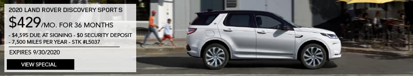 2020 LAND ROVER DISCOVERY SPORT S. $429 PER MONTH FOR 36 MONTHS. $4,595 DUE AT SIGNING. $0 SECURITY DEPOSIT. 7,500 MILES PER YEAR. STOCK L5037. EXPIRES 9.30.2020. VIEW SPECIAL. WHITE LAND ROVER DISCOVERY SPORT DRIVING THROUGH CITY.