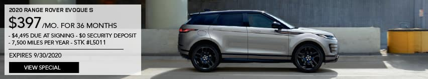 2020 RANGE ROVER EVOQUE S. $397 PER MONTH FOR 36 MONTHS. $4,495 DUE AT SIGNING. $0 SECURITY DEPOSIT. 7,500 MILES PER YEAR. STOCK NUMBER L5011. EXPIRES 9.30.2020. VIEW SPECIAL. SILVER RANGE ROVER EVOQUE DRIVING THROUGH CITY.